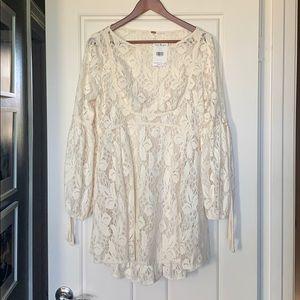 Free People Ivory Lace Boho Dress Medium